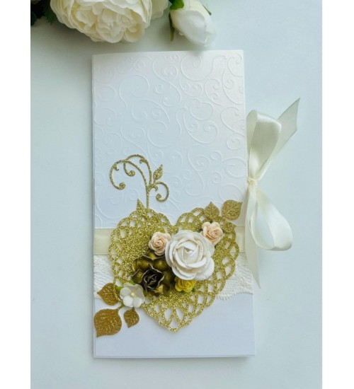 Elegantne õnnitluskaart rahataskuga pulmadeks