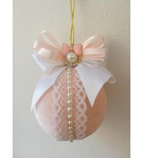 Pitsi ja pärlikestega kaunistatud väiksem Jõulukuul, roosa