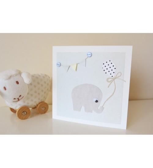 """Õnnitluskaart """"hall elevant"""" ümbrikuga"""