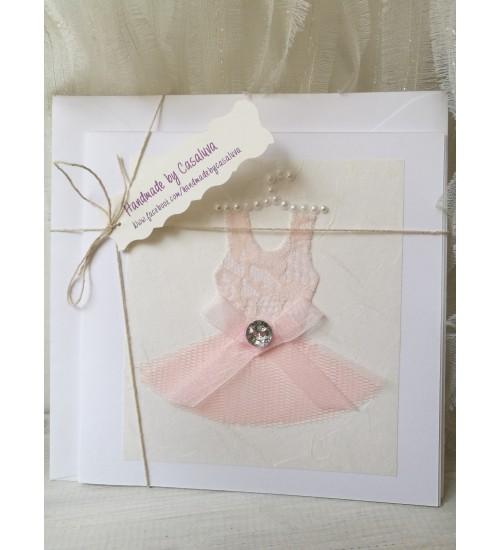 """Õnnitluskaart """"Roosa kleidike"""" ümbrikuga"""