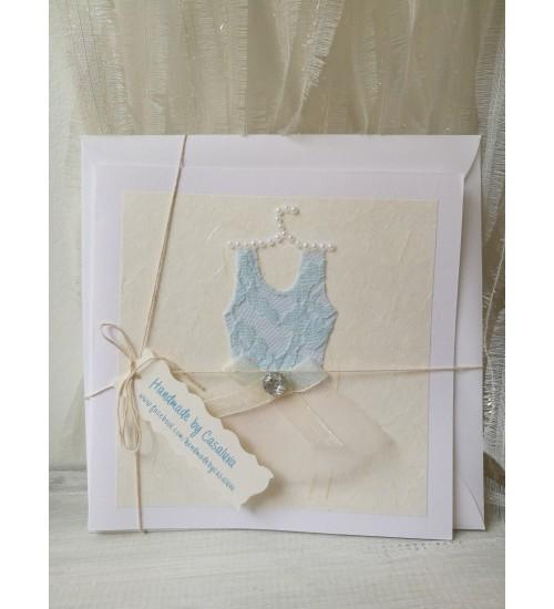 """Õnnitluskaart """"Sinine kleidike"""" ümbrikuga"""