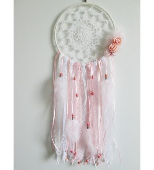Vintage stiilis roosa-lumivalge unenäopüüdja
