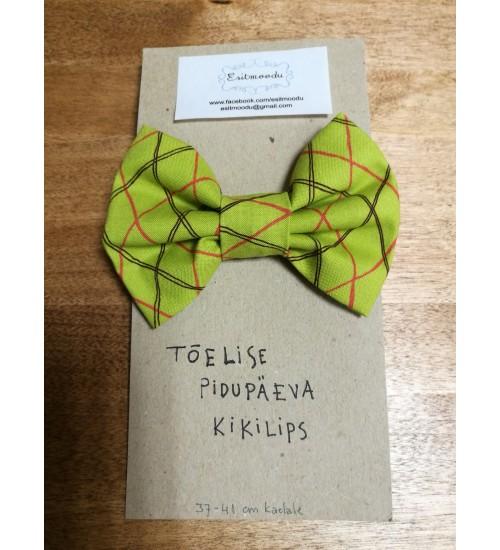 Tõelise pidupäeva kikilips- heledam, oliivikarva roheline punase ja pruuni triibuline