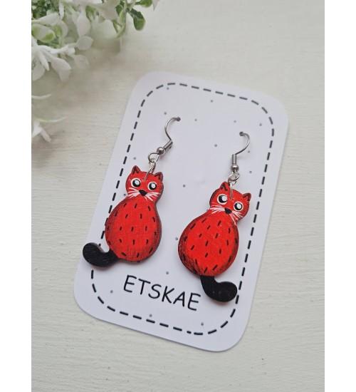 """Käsitsi maalitud kõrvarõngad """"Punased kassid"""""""