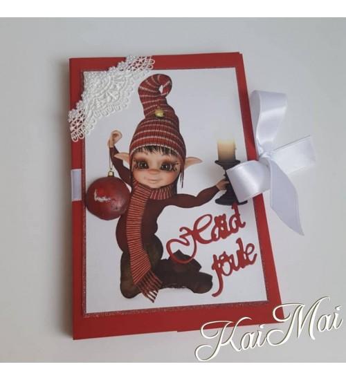 Häid jõule sooviv, päkapikupildiga šokolaaditasku