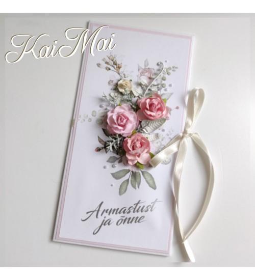 """Õrnades roosades toonides pulmakaart """"Õnne ja armastust"""""""