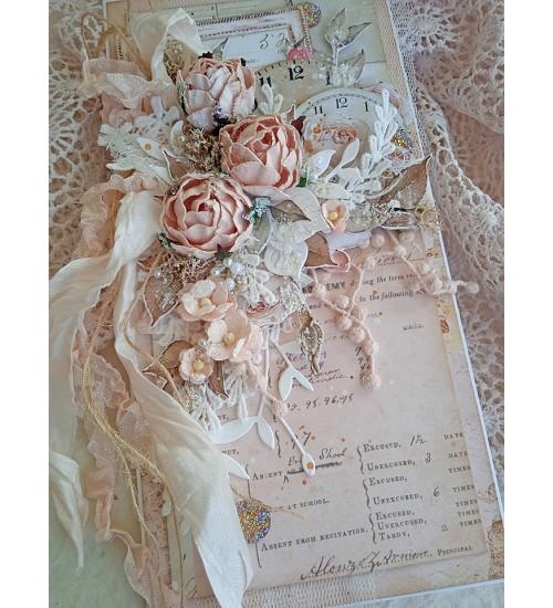 Vanaroosas värvitoonis  õnnitluskaart koos rahataskuga