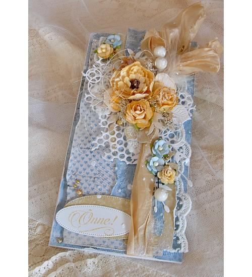Soojades sinistes ja pruunikates toonides õnnitluskaart koos rahataskuga