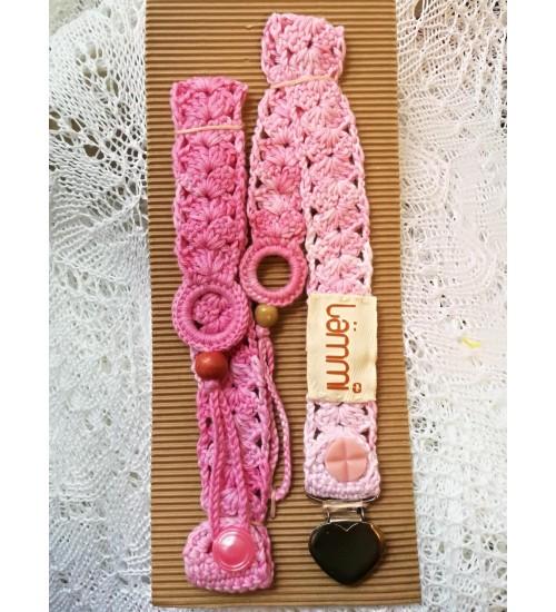 Südamekujulise klõpsuga roosat  värvi lutiketi komplekt