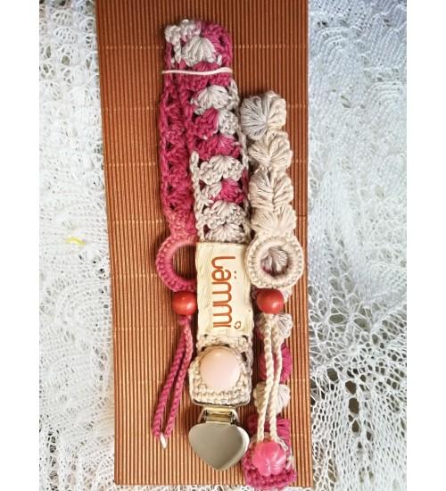 Südamekujulise klõpsuga mahedat roosat  värvi lutiketi komplekt