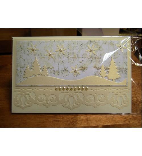 Lumise metsaga jõulukaart