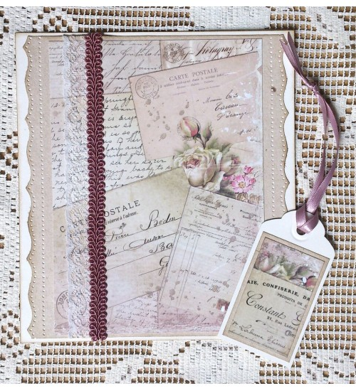 Pisikene roosade lillekestega kinkekoti ja karbi kaunistus