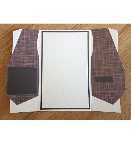 Härrasmehelik pruunika vestiga õnnitluskaart
