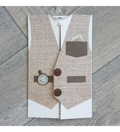 Härrasmehelik  pruuni vestiga õnnitluskaart, rahatasku