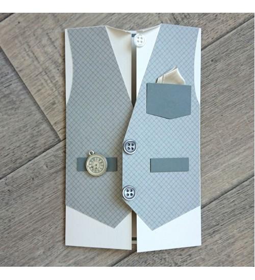 Härrasmehelik  halli vestiga õnnitluskaart, rahatasku