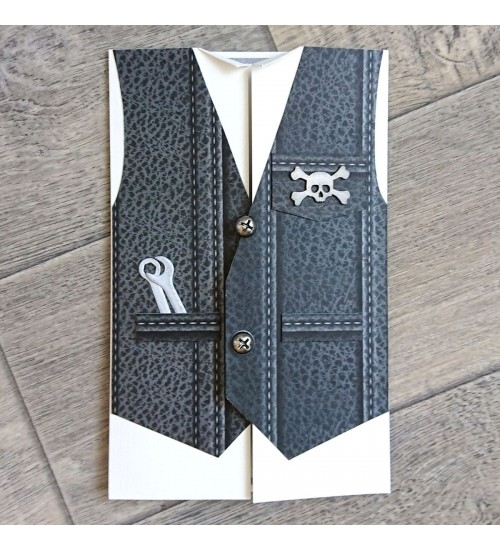 Härrasmehelik  musta värvi vestiga õnnitluskaart, rahatasku
