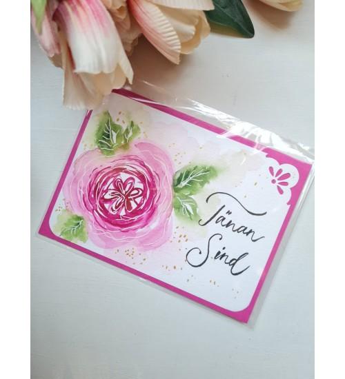 """Akvarelljoonistusega õnnitluskaart """"Tänan sind!"""""""