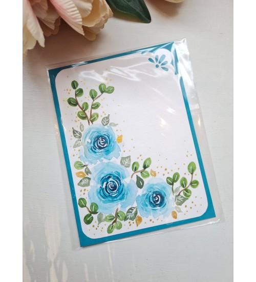 """Akvarelljoonistusega õnnitluskaart """"Sinine roos"""""""