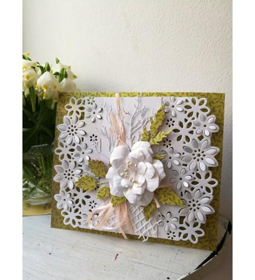 Kaunis õnnitluskaart valge roosiga