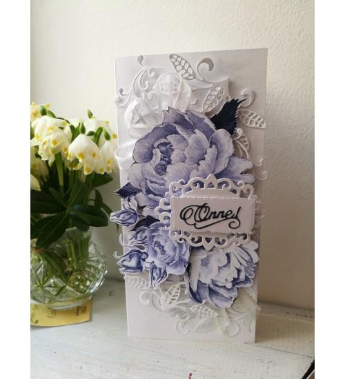 Kaunis sini-valge õnnitluskaart rahataskuga