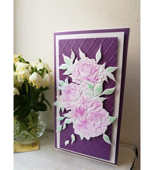 Kaunis roosade roosidega õnnitluskaart rahataskuga