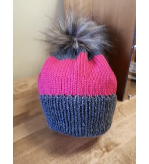 Halli ja roosaga tutimüts