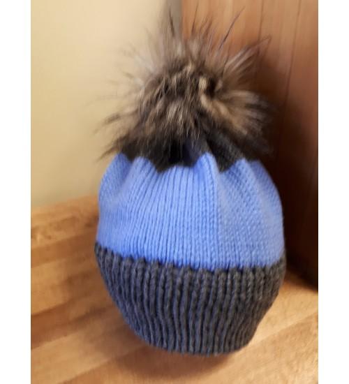 Halli ja sinisega tutimüts 44-46cm