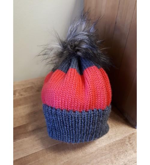 Halli ja punasega tutimüts 44-46cm