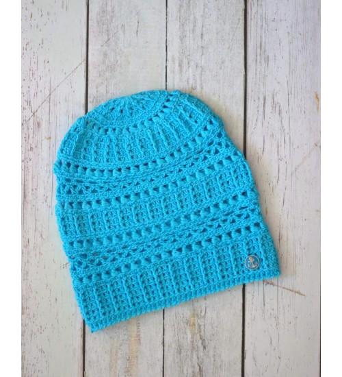 Türkiissinist värvi puuvillane müts