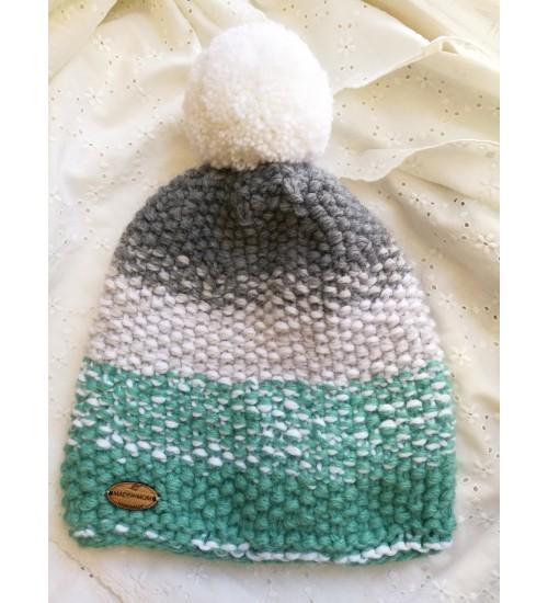 Halli-, valge- ja rohelisetriibuline tutimüts