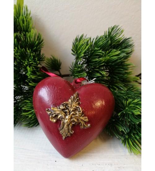 Südamekujuline jõuluehe krooni ornamendiga, punane