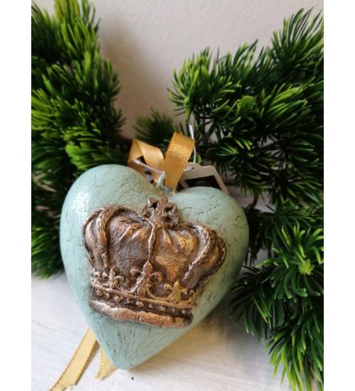 Südamekujuline jõuluehe krooni ornamendiga, helesinine