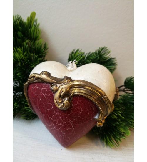 Südamekujuline jõuluehe ornamentidega, punane ja valge