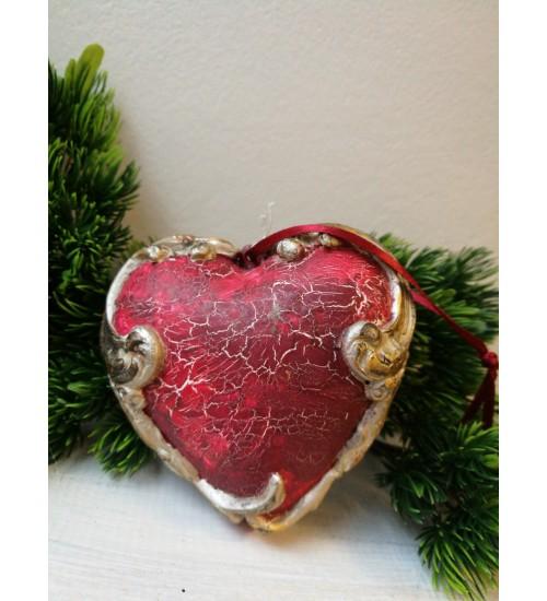 Südamekujuline jõuluehe ornamentikaga, punane