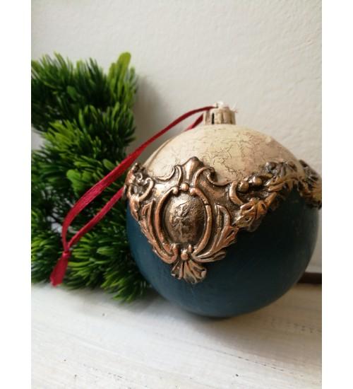 Jõulukuul ornamentidega, naturaalne valge ja sinine