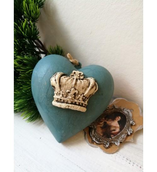 Südamekujuline jõuluehe ornamentidega, tumesinine