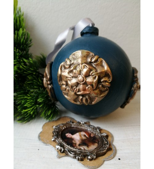 Jõulukuul Ornamentidega, sinine