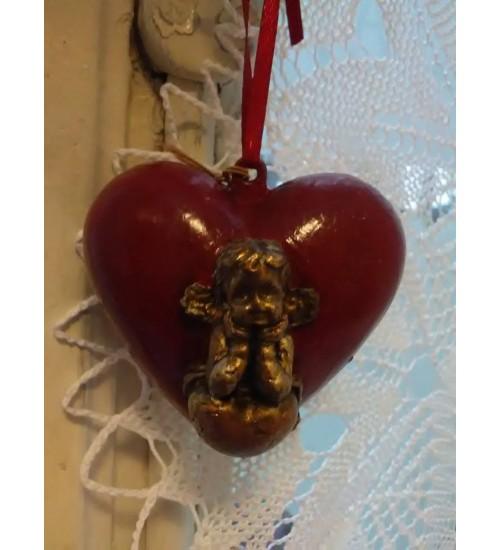 Kuldse inglikesega punane Südamekujuline jõuluehe