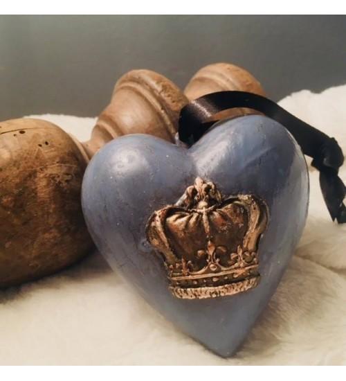 Kuldse krooniga helesinine südamekujuline jõuluehe