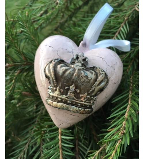 Kuldse krooniga valget värvi südamekujuline jõuluehe