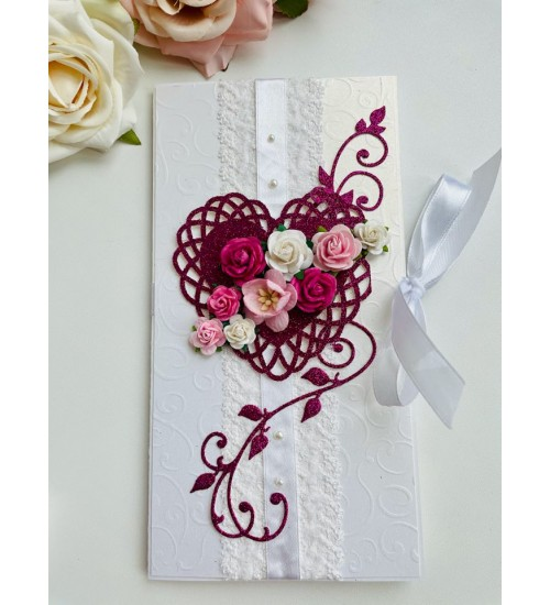 Elegantne õnnitluskaart pulmadeks, rahataskuga