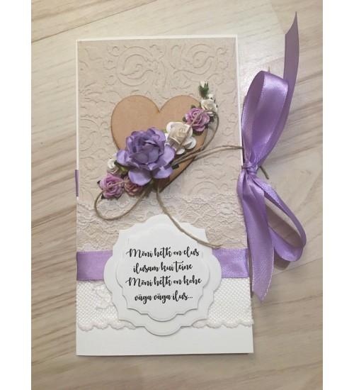 Ilusa luuletusega helelilla paelaga õnnitluskaart