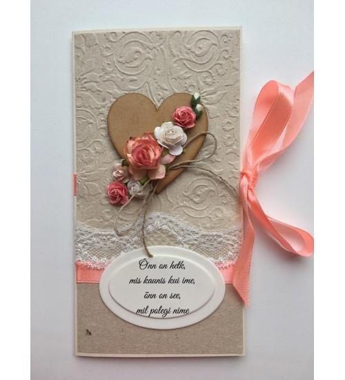 Ilusa luuletusega, roosa paelaga õnnitluskaart