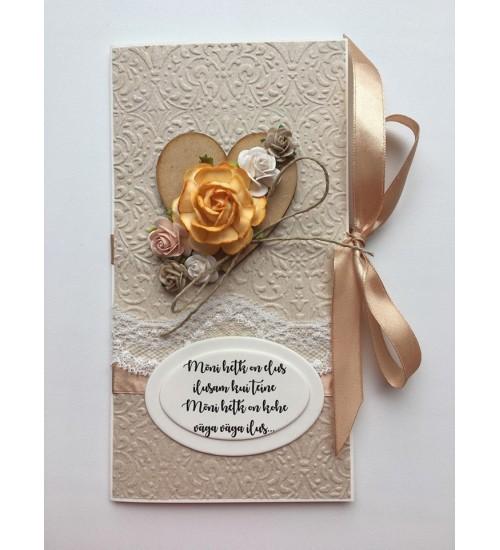 Ilusa luuletusega, lõheroosa paelaga õnnitluskaart
