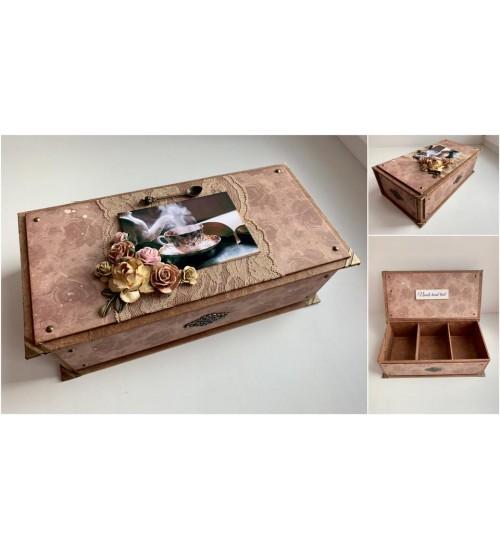 Käsitsi meisterdatud pruunides  toonides teekarp