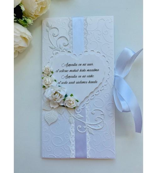 Elegantne õnnitluskaart rahataskuga pulmadeks luuletusega
