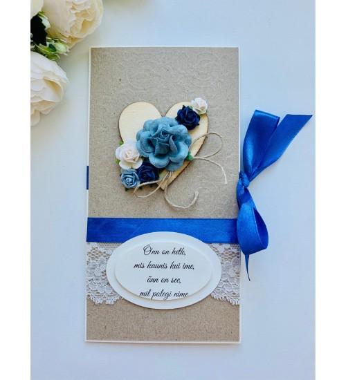 Ilusa luuletusega ja sinise paelaga õnnitluskaart