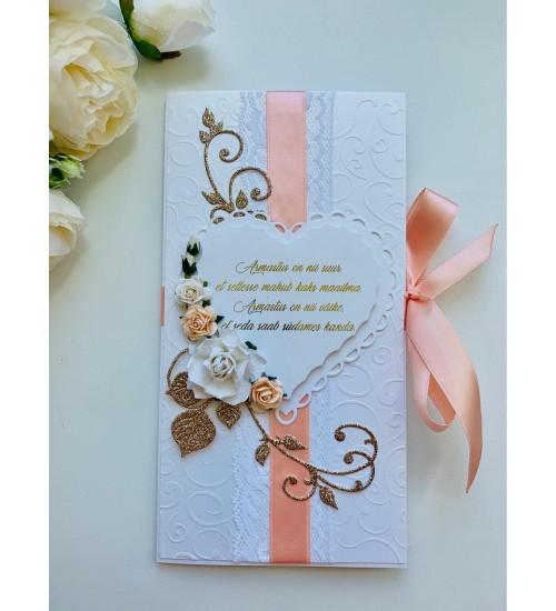 Elegantne õnnitluskaart pulmadeks luuletusega