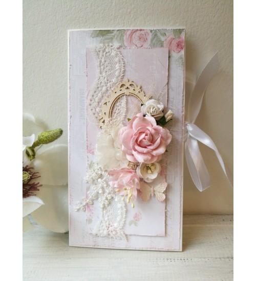 Romantiline rooside ja liblikaga õnnitluskaart rahataskuga