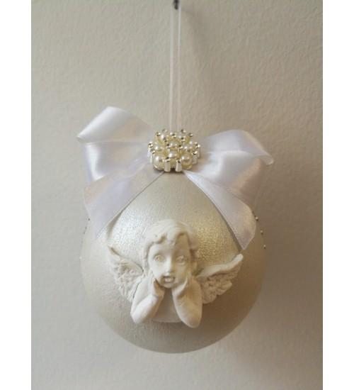 Pärlmutter valge jõulukuul ingliga